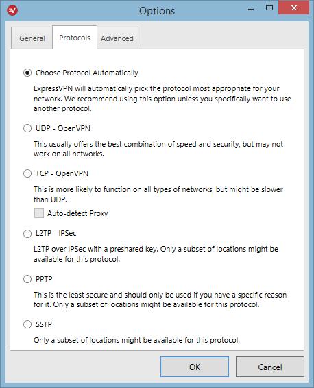 ExpressVPN - Protocolos disponibles