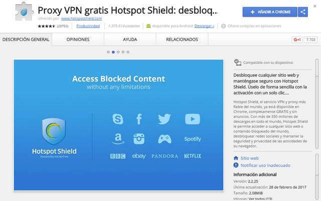 Hotspot Shield - Extensión Google Chrome