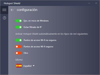 Hotspot Shield - Configuración