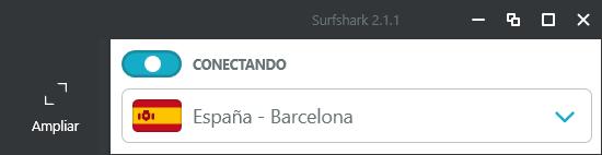 Surfshark - Interfaz