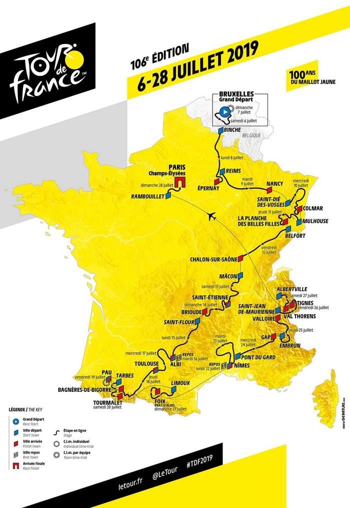 Tour de France 2019 -  Recorrido