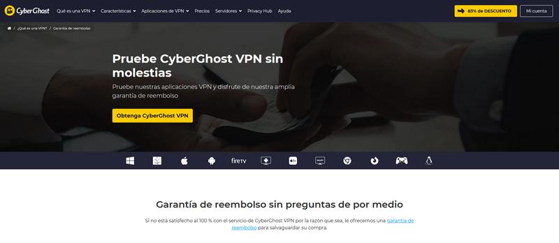 CyberGhost - Garantía de reembolso