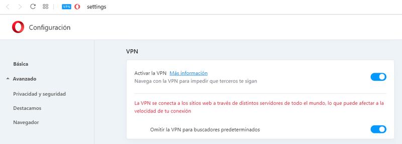 Opera VPN - Interfaz