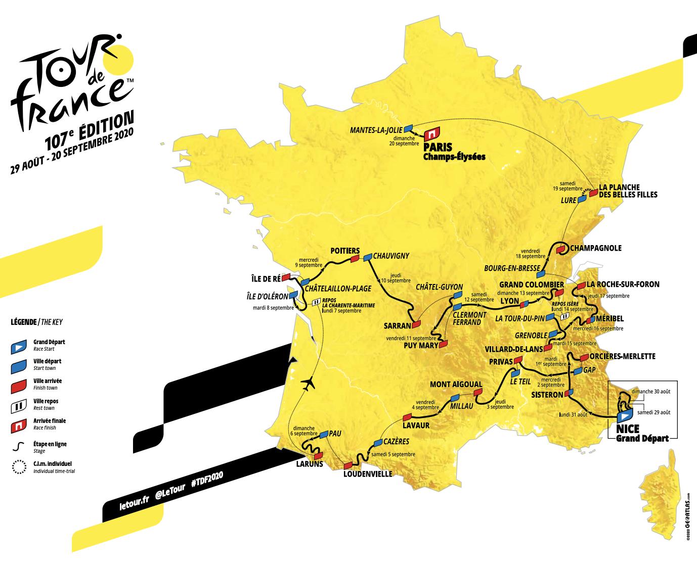 Tour de France 2020 -  Recorrido
