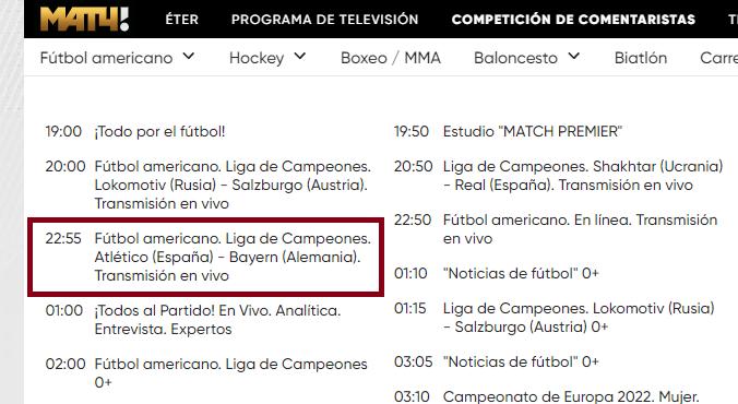 Champions League en Match TV (canal gratis)