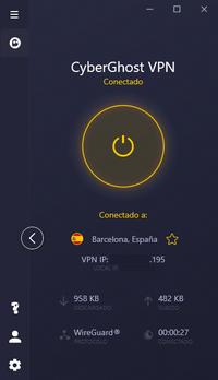 CyberGhost - Interfaz Mini, VPN activado