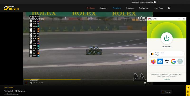 Prueba que ExpressVPN funciona para ver la Fórmula 1 en RTBF