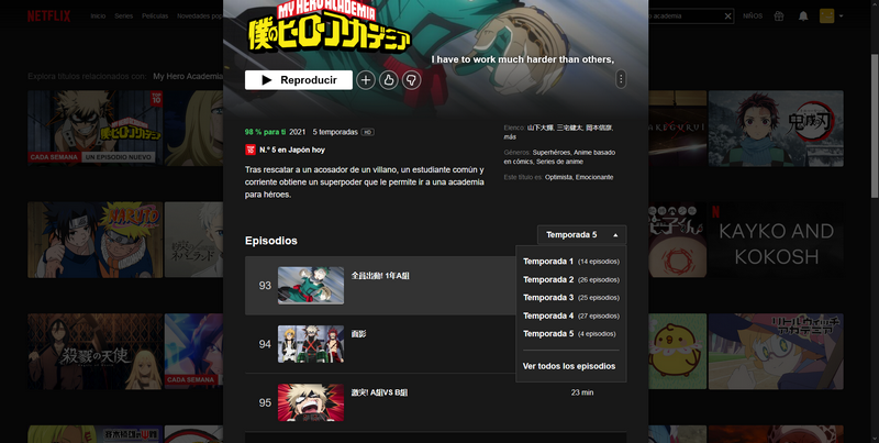 My Hero Academia en Netflix Japón