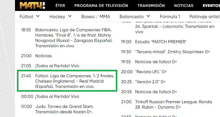 Chelsea - Real en Match TV