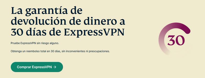 Garantía de reembolso de ExpressVPN