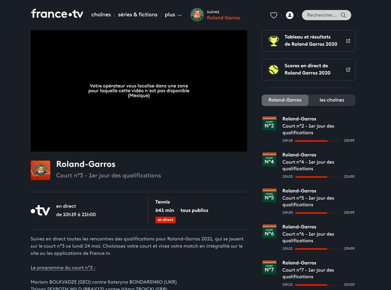 Roland Garros en France TV fuera de Francia, sin VPN