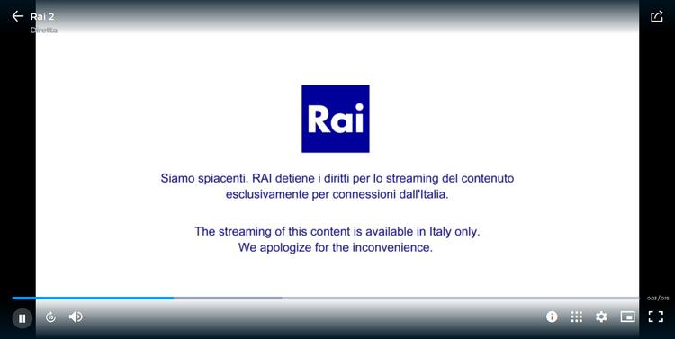 RAI fuera de Italia, sin VPN