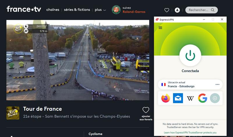 Tour de Francia en France TV, con ExpressVPN