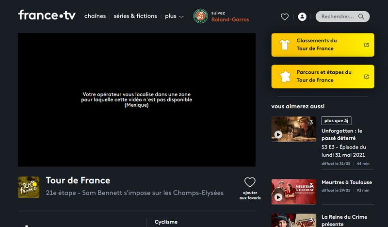 Tour de Francia en France TV, sin VPN
