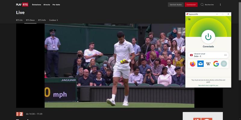 Wimbledon en RTS fuera de Suiza, con ExpressVPN