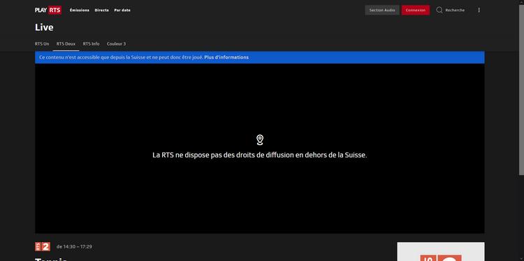Wimbledon en RTS fuera de Suiza, sin VPN