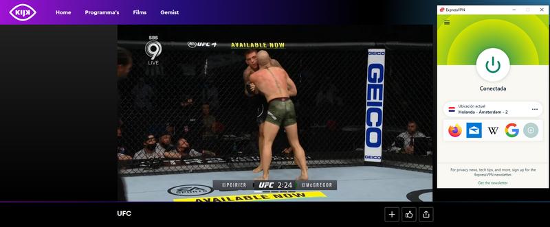 Prueba que ExpressVPN funciona para ver Poirier vs McGregor en vivo en KIJK