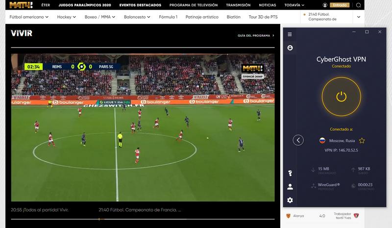 Match TV con CyberGhost - Se puede inicar el stream