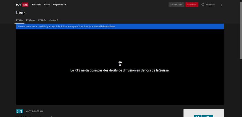 RTS fuera de Suiza, sin VPN