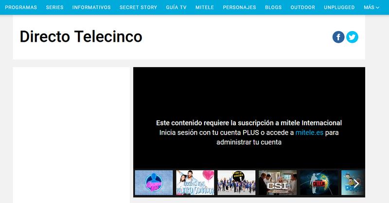 Telecinco desde el extranjero, sin VPN